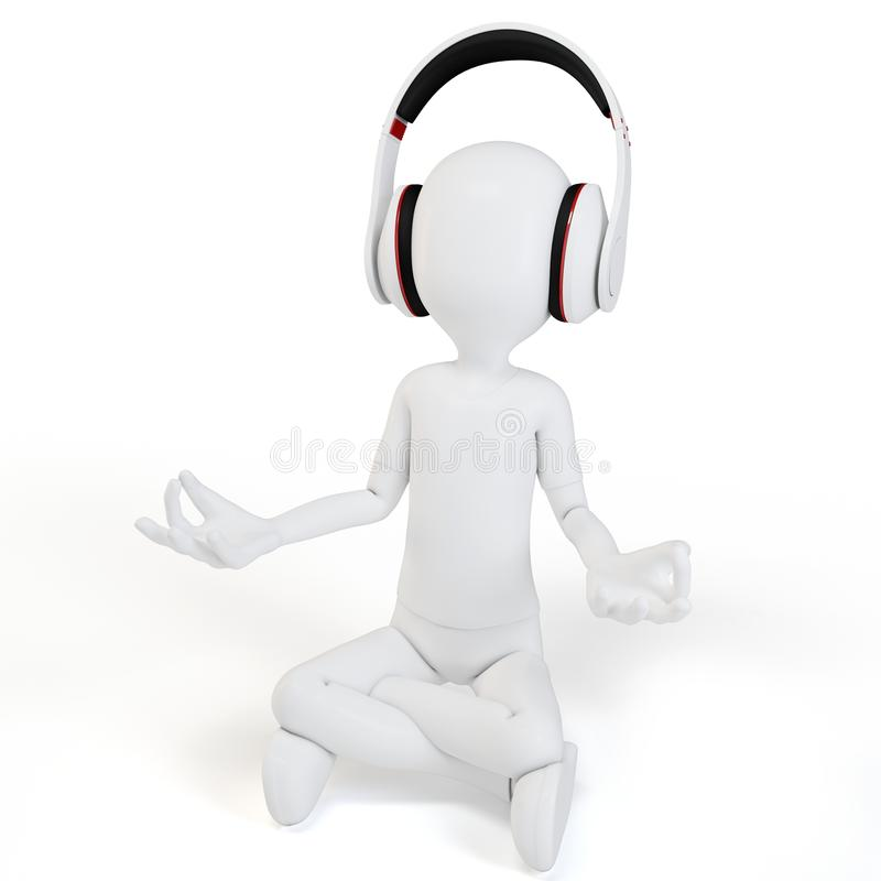 Download 3d Man With Headphones Relaxing Stock Illustration - Image: 23637538
