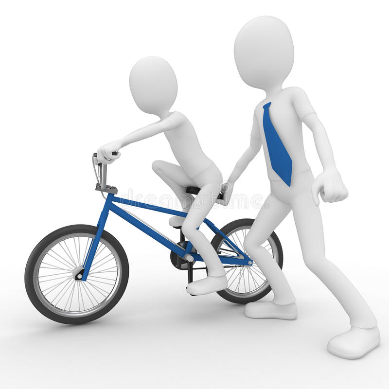 3d man helping child learning to bike vector illustration