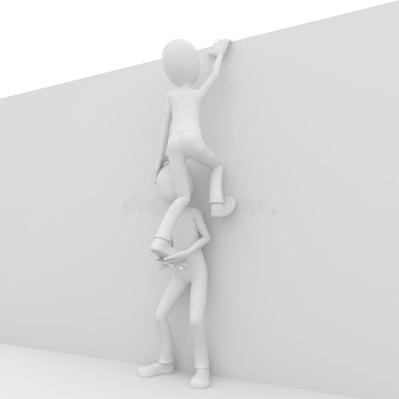 Download 3d Man Helping Friend To Climb Stock Illustration - Illustration: 18176628