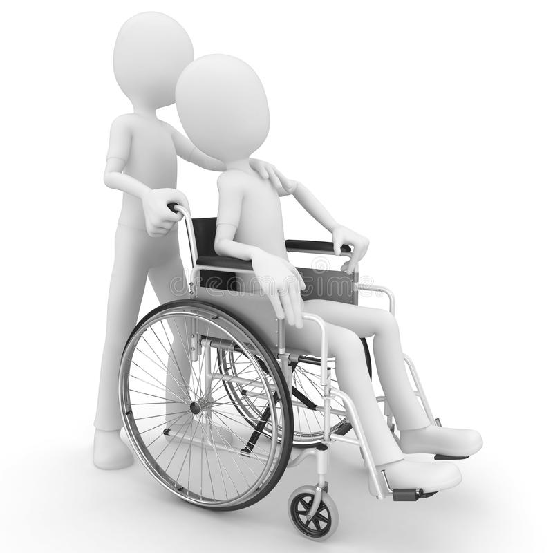Download 3d Man Helping Older With Wheel Chair Stock Illustration - Image: 18176603