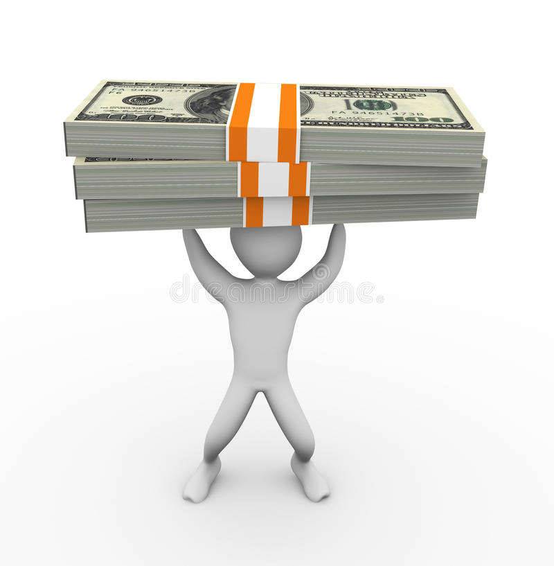 3d Man Holding Dollar Pack Stock Images