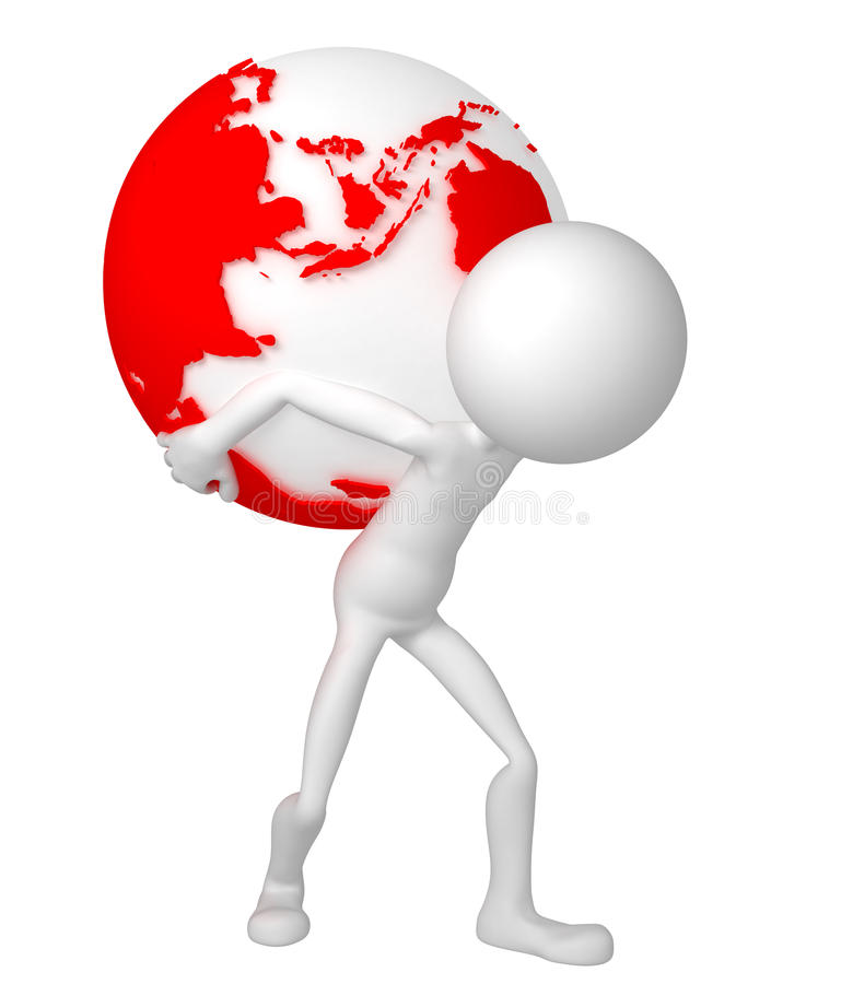 3d man holding earth globe on his shoulders. stock illustration