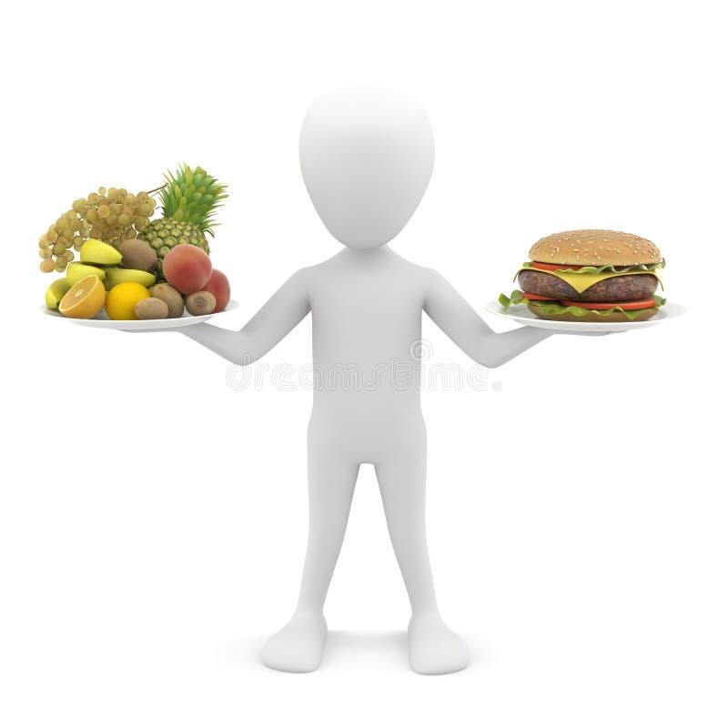 3d man holding fruit and hamburger. 3d image. royalty free illustration