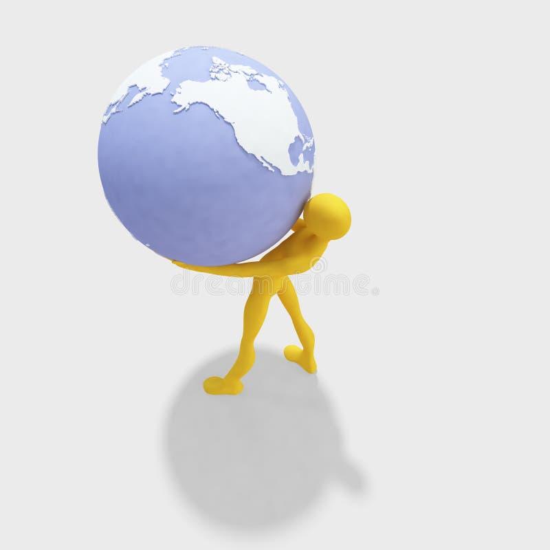3d Man Holding Globe Stock Image