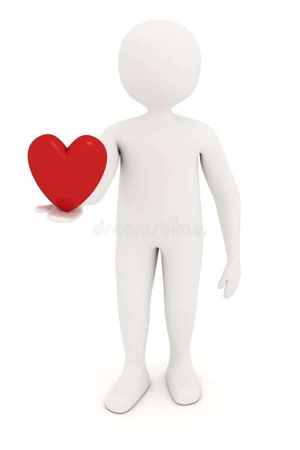 Download 3d man holding heart stock illustration. Illustration of virtual - 19715739