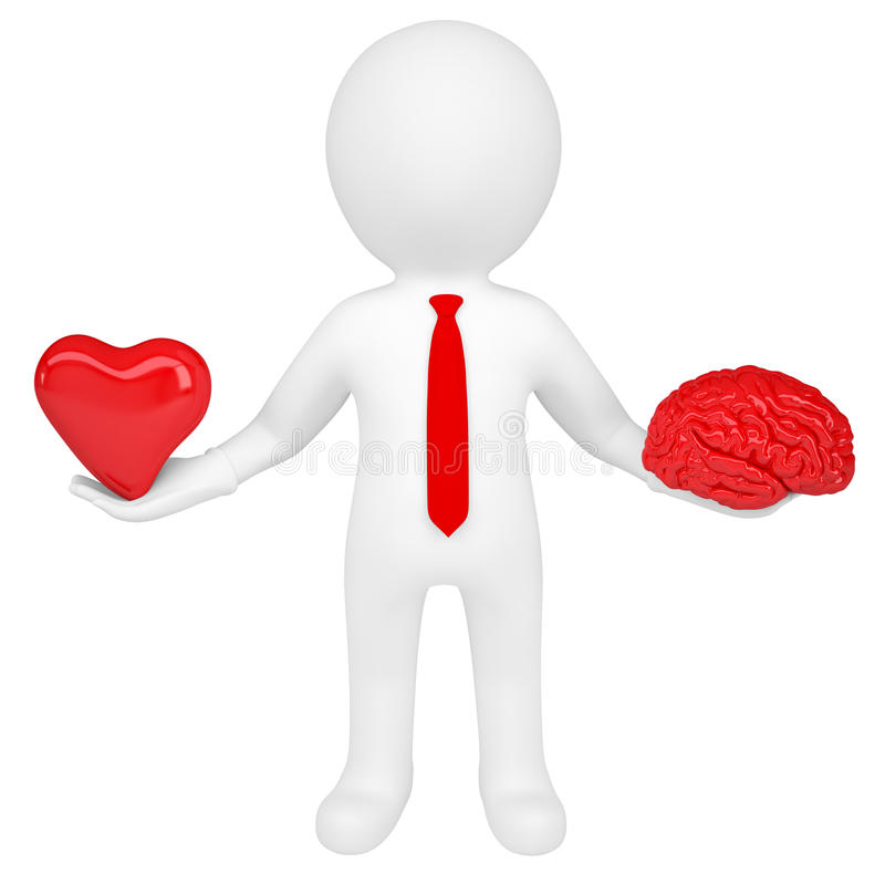 3d man holding a heart and a brain royalty free illustration