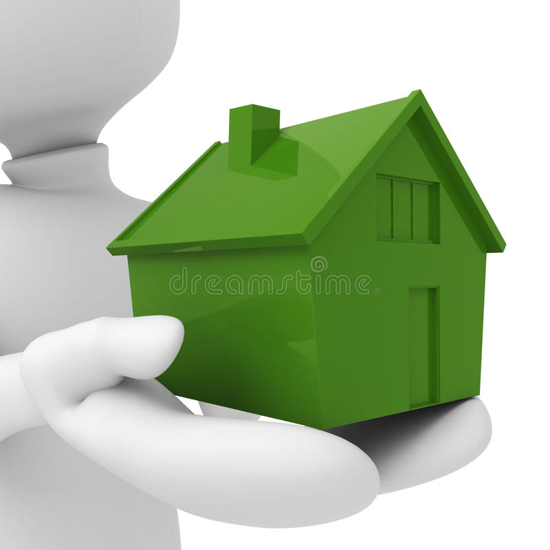 3d Man - Holding A Miniature House In His Hands Royalty Free Stock Images