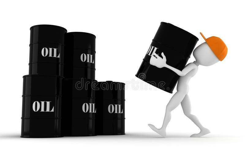 3d Man Holding An Oil Barrel Royalty Free Stock Image
