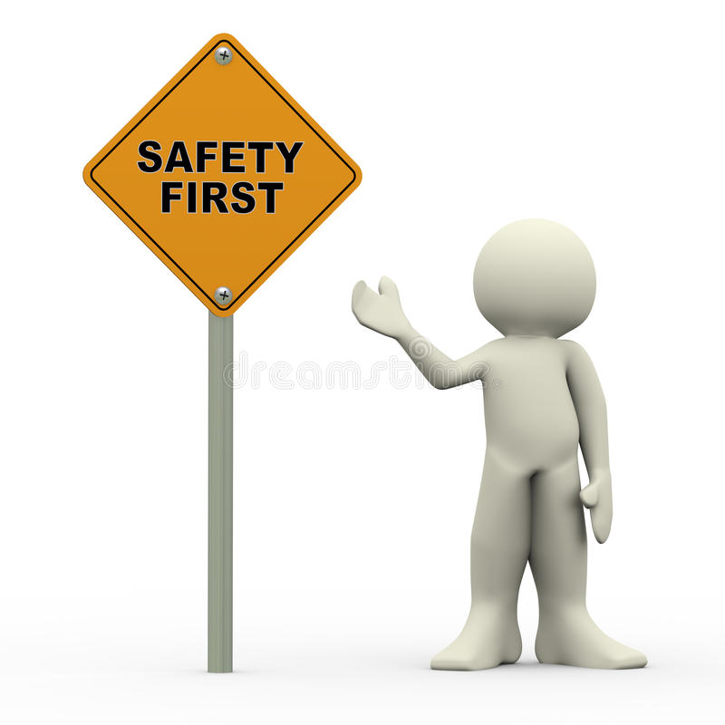 3d man holding safety first roadsign royalty free illustration