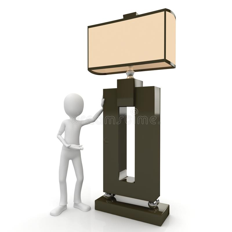 3d Man With Huge Lamp Royalty Free Stock Images