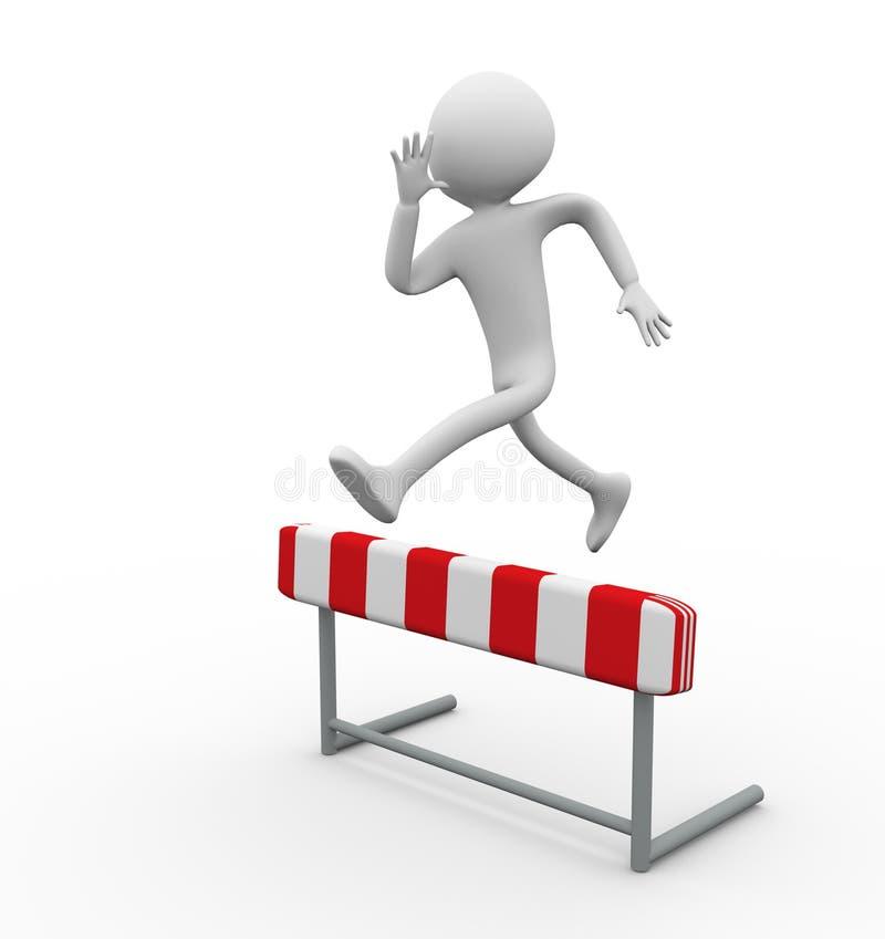 3d man hurdle jump stock illustration