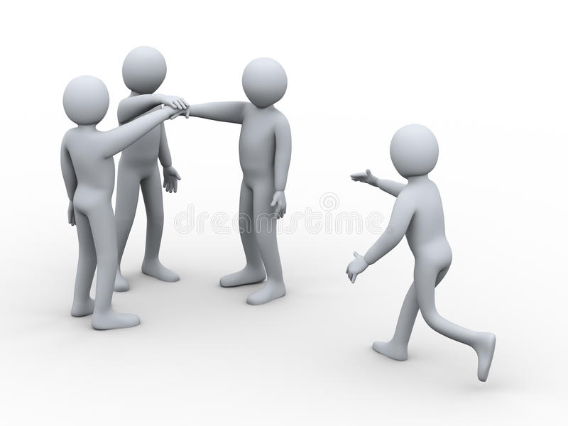 3d man joining group of people. 3d illustration of man joining group of people for team work. 3d rendering of people - human character