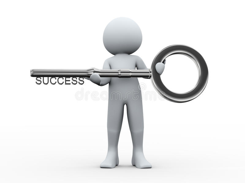 3d man and key to success. 3d illustration of person holding key with word success. 3d rendering of human character vector illustration