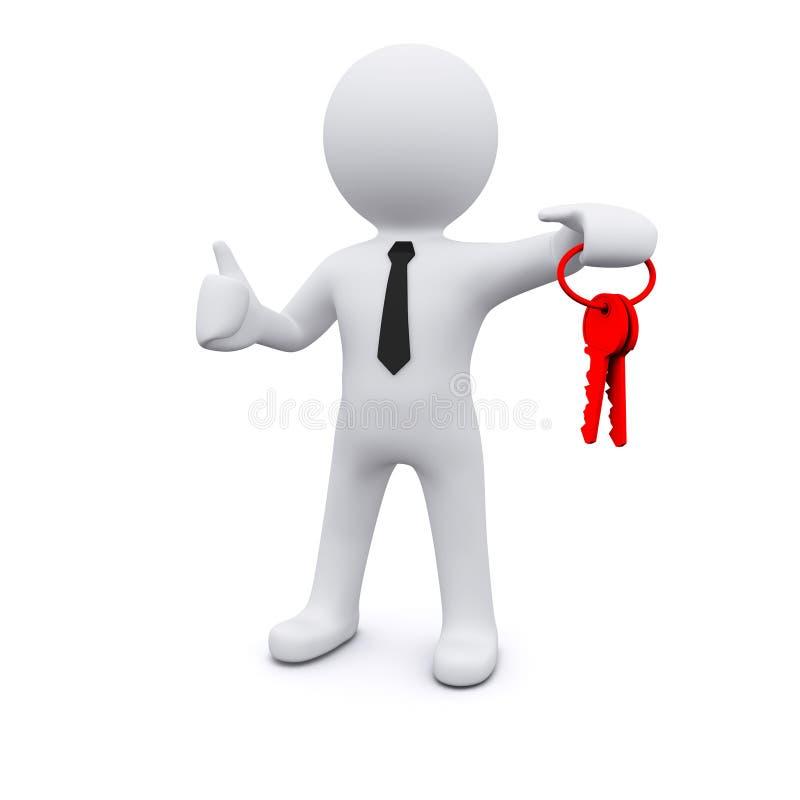 3D man with keys stock illustration