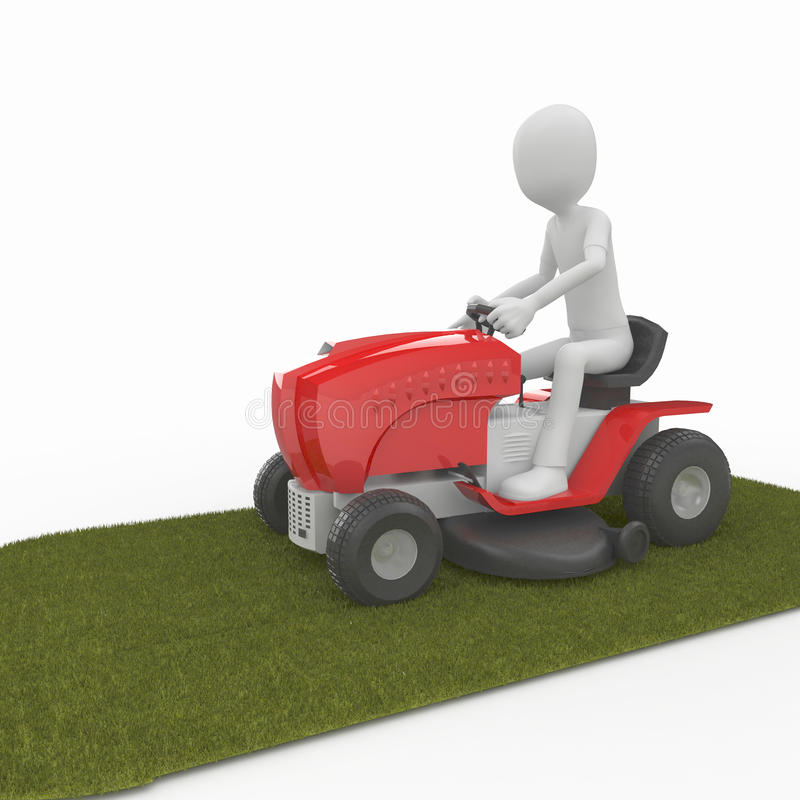 3d man with lawn mower royalty free illustration