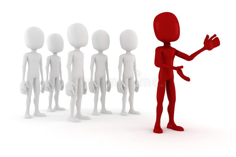 3d man leader in front of a crowd royalty free illustration