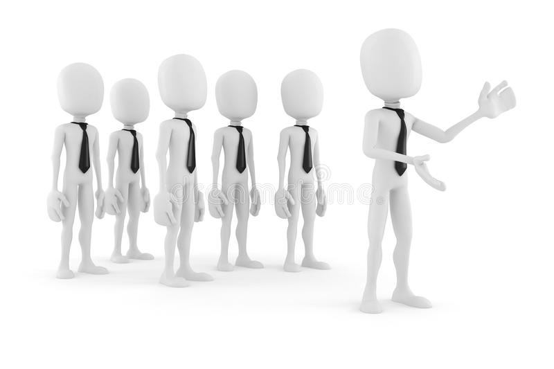 3d man leader in front of a crowd stock illustration