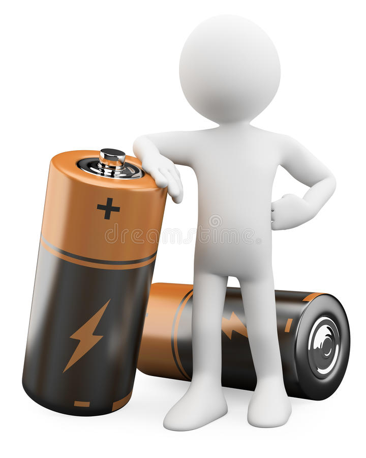 3D Man leaning on a battery stock illustration
