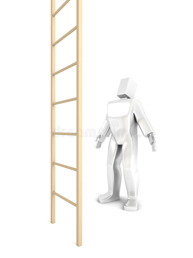 Download 3D Man looks at the stairs stock illustration. Image of freedom - 19498564