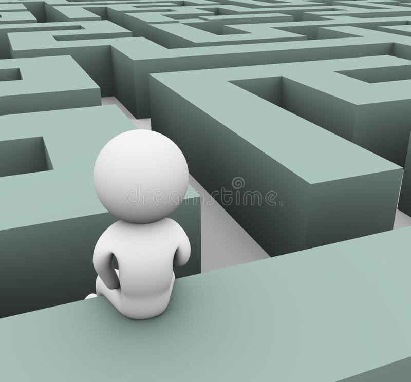 Download 3d man lost in maze stock illustration. Image of pathway - 21075401