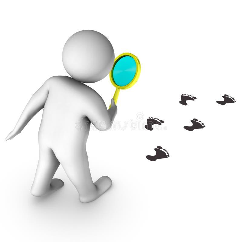 Download 3d Man With Magnigier And Footprints Stock Illustration - Illustration: 13848518