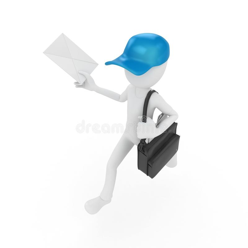 3d man mail delivery stock image