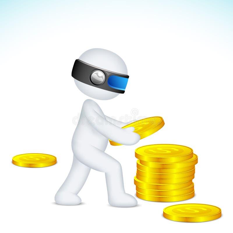 3d Man making pile of Dollar stock illustration