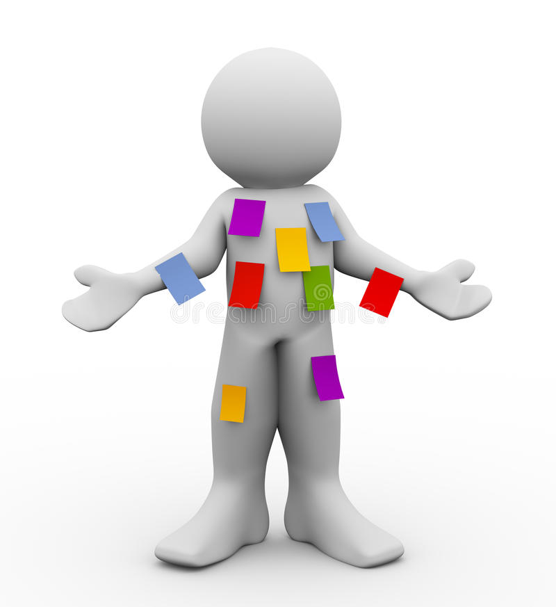 3d man with many sticky empty notes stock illustration
