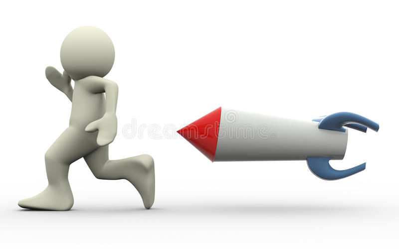 3d man and missile. 3d missile chasing running man. 3d illustration of human character royalty free illustration