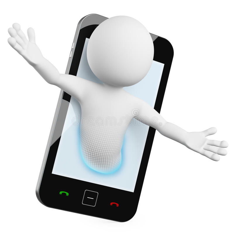3D Man - Mobile video call vector illustration