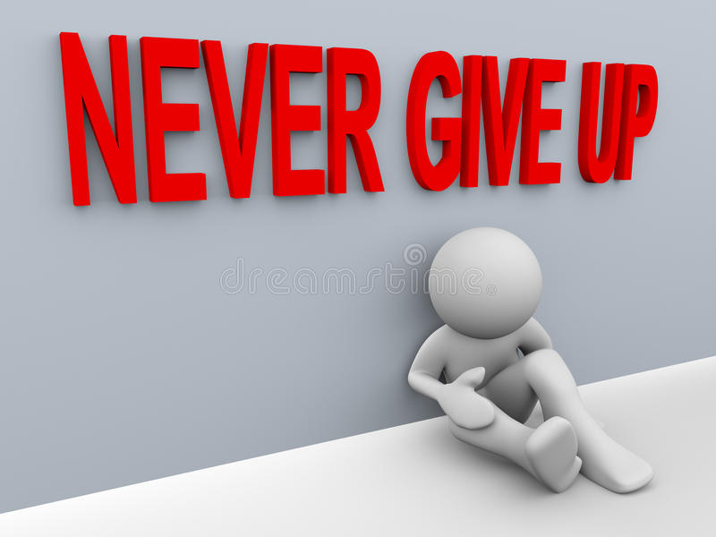 3d man - never give up vector illustration
