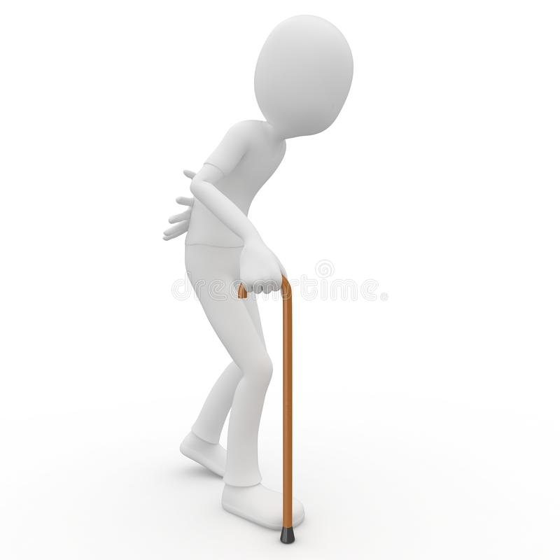 3d Man Old With Walking Stick Stock Images
