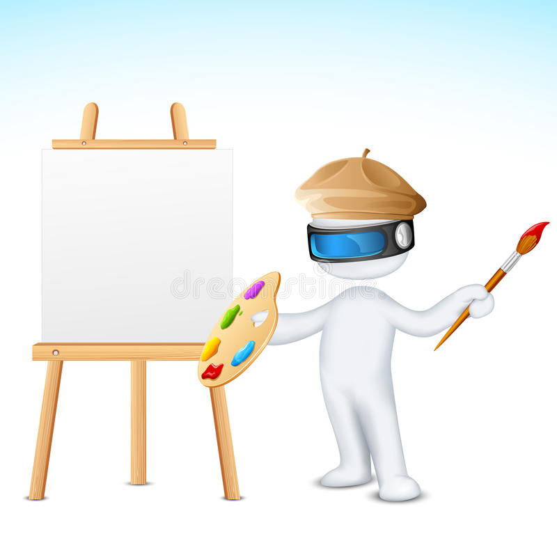 3d Man with Paint Brush vector illustration