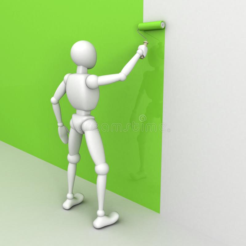 Download 3D Man Painting The Wall With A Roller Brush Stock Illustration - Image: 28193946