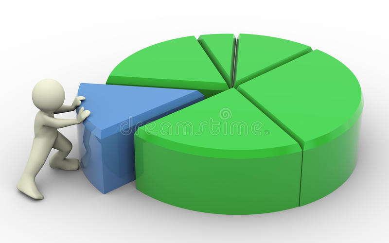 3d man and pie chart stock illustration