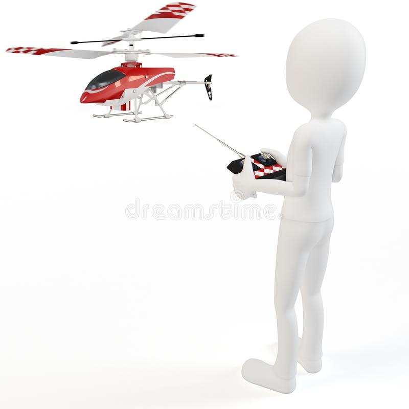 3d man Piloting Radio controlled helicopter royalty free illustration