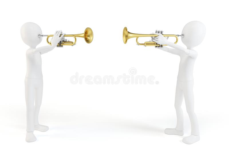 3d Man Playing The Trumpet Stock Photography