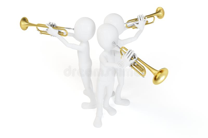 3d Man Playing The Trumpet Royalty Free Stock Images
