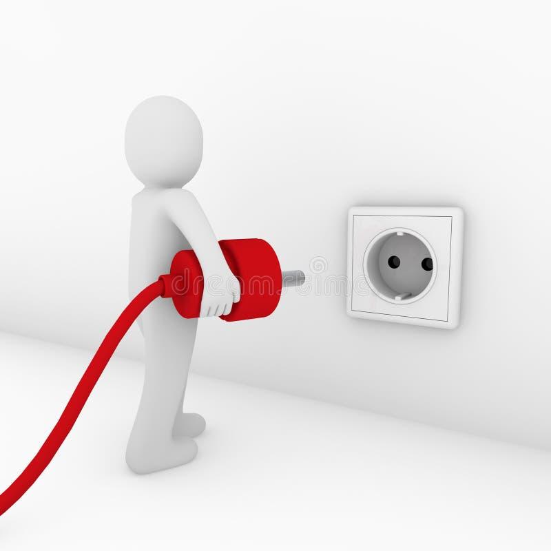 3d man plug socket red royalty free illustration