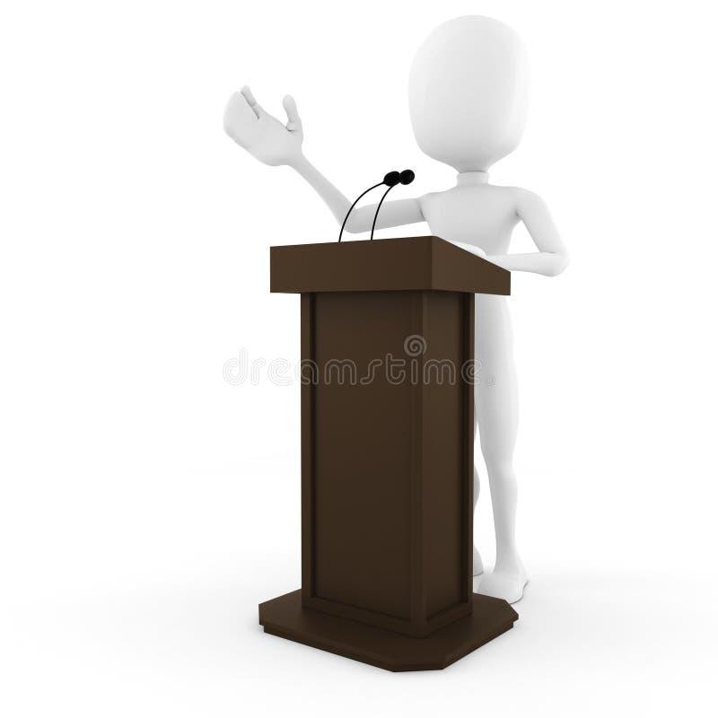 3d man podium speech, on white royalty free illustration