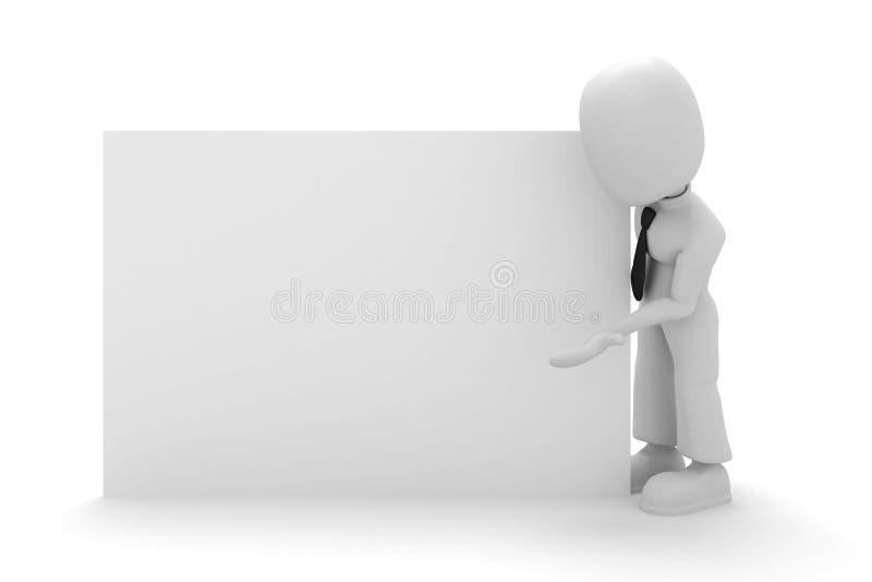 3d man posing hear a white board. Single 3d man posing near a white board stock illustration