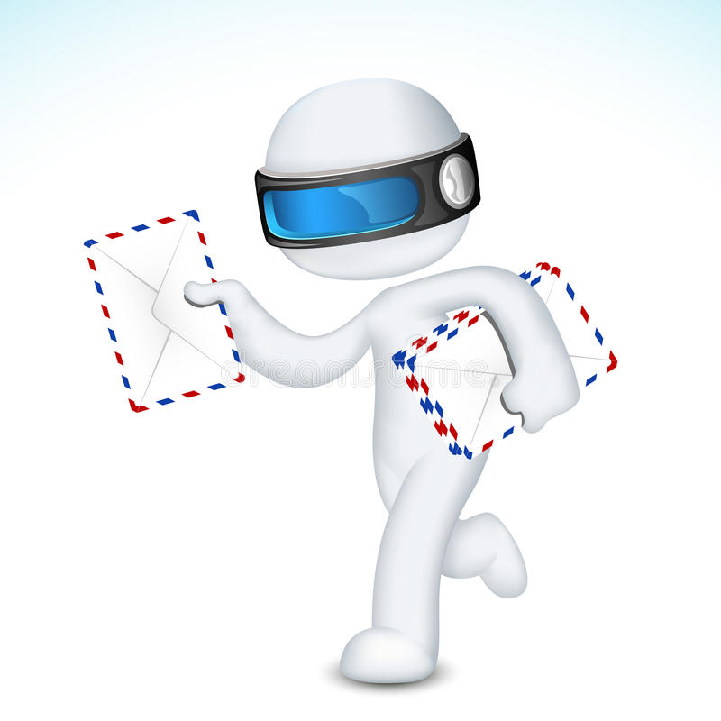3d Man in with Postal Envelope royalty free illustration