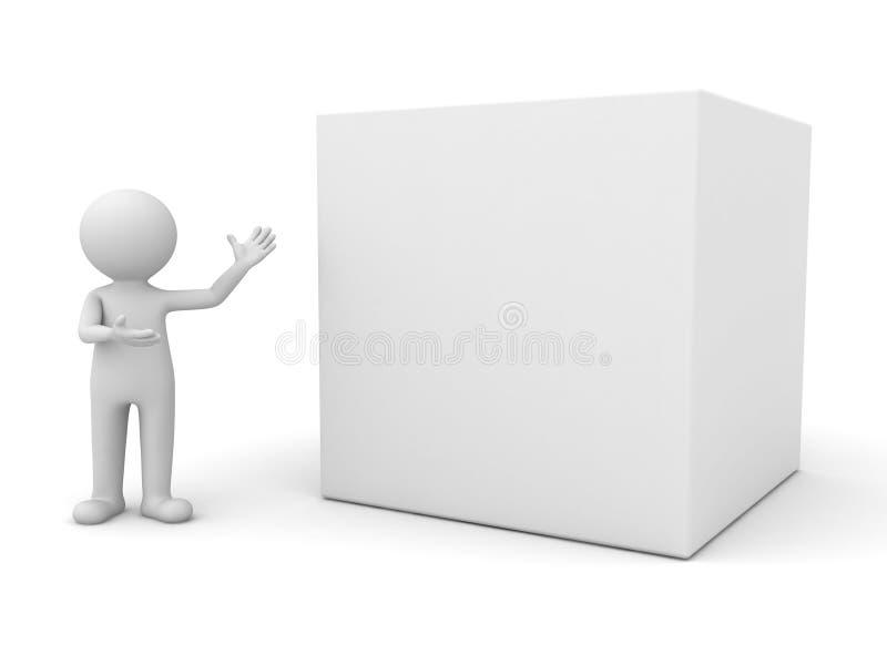 3d man presenting blank box royalty free illustration