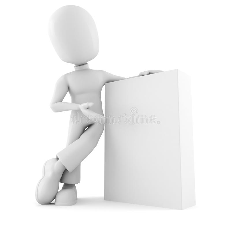 3d man presenting a new product box stock illustration