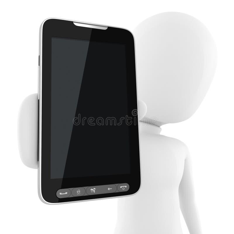 3d man presenting a new smart phone stock illustration