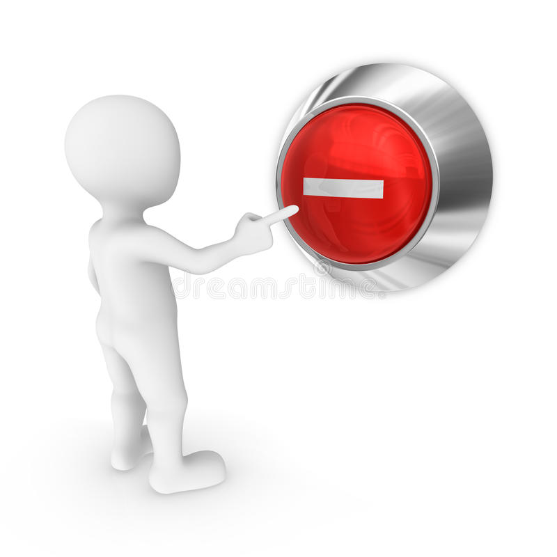 Free 3d Man Presses The Button With Minus Symbol. Royalty Free Stock Photos - 91083038