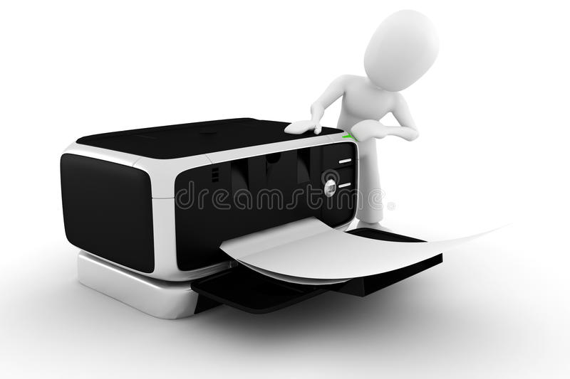 3d man printing some documents vector illustration
