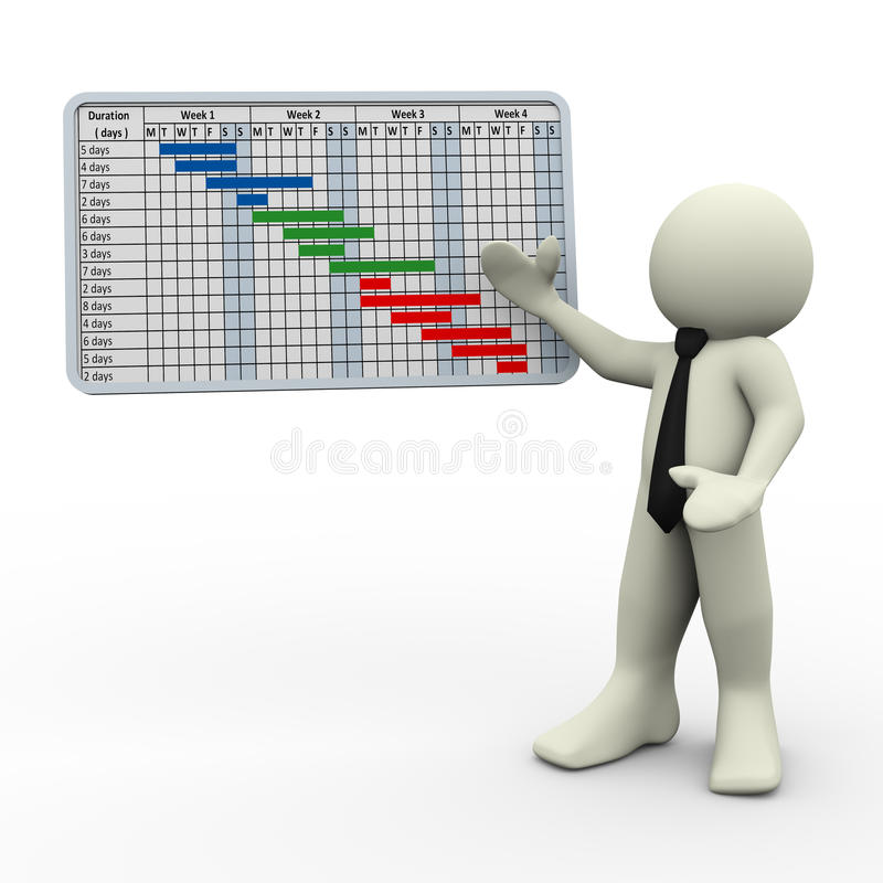 3d man and project gantt chart. 3d render of businessman presenting business project gantt chart. 3d illustration of human character royalty free illustration