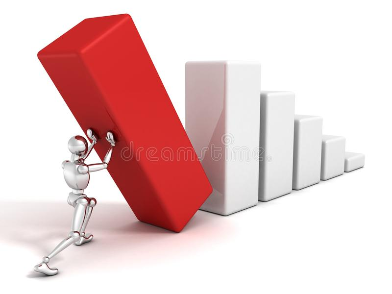 3d man push the red top of success business bar chart stock illustration