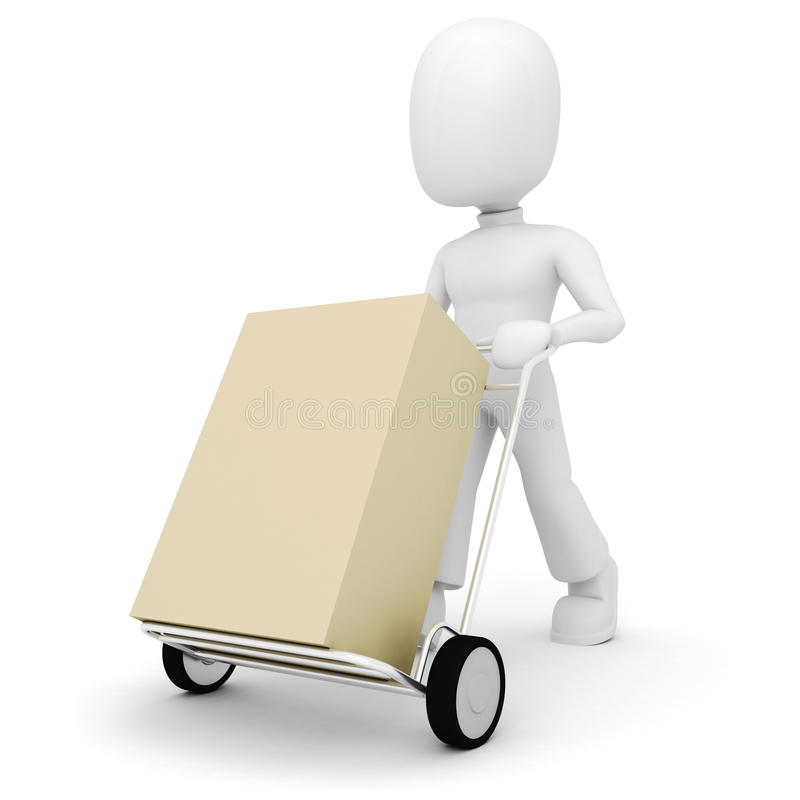 Download 3d Man Pushing A Shopping Cart Stock Illustration - Illustration: 13289941